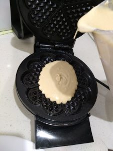 Pour batter onto the greased non-stick Breville Waffle Maker